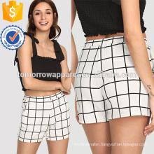 Elastic Waist Grid Shorts Manufacture Wholesale Fashion Women Apparel (TA3010B)