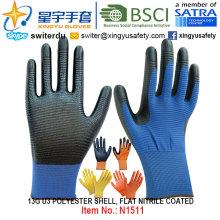 13G U3 Полиэфирные оболочки Нитриловые ламинированные перчатки (N1511) Гладкая отделка с CE, En388, En420, рабочие перчатки