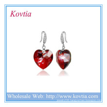 Alibaba jewelry heart of the ocean crystal 925 silver earring designs