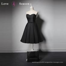 LSQ027 sweetheart short elegant satin black evening dresses for weddings bridal party dresses