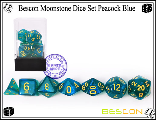 Peacock Blue Dice Set-5