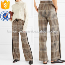 Crepe-trimmed Checked Tweed Wide-leg Pants Manufacture Wholesale Fashion Women Apparel (TA3015P)