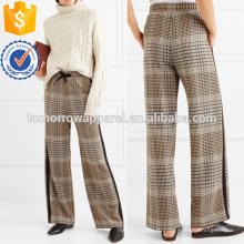 Креп отделкой проверил широкими брючинами Твидовые брюки Производство Оптовая продажа женской одежды (TA3015P)