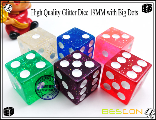 High Quality Glitter Dice 19MM with Big Dots