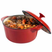 Emaillierte Gusseisen Runde Holländische Ofenkasserolle, Rot