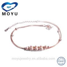 China-Schmucksache-Fertigung rosafarbenes Gold überzogenes Fußkettchen für Frauen