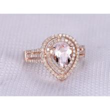8x6mm Pear Cut Morganite and Diamond Engagement Ring 14k Rose gold Double Halo Three Row Split Shank