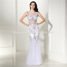 Femmes en mousseline de soie robes de soirée Sexy demi-manches dentelle blanche Maxi longue robe longue zip jupe robes de soirée