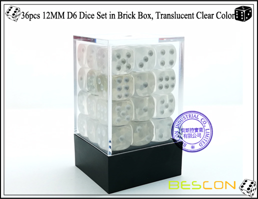36pcs 12MM D6 Dice Set in Brick Box, Translucent Clear Color-1