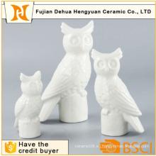 Blanco Cerámica Búho Estatuilla Candle Holder Artesanía para la decoración del hogar