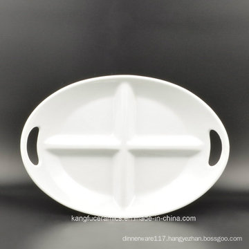 Daily Use 4 Grids Oval Ceramic Plate
