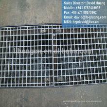 Rejilla de zanja galvanizada, rejilla de acero serrada galvanizada, cubierta de drenaje galvanizada