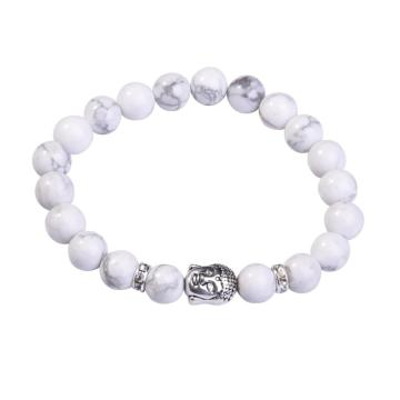Natural Howlite 8MM Gemstone Buddhism Prayer Beads Bracelets