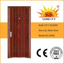Porte en acier extérieure chaude en acier de sécurité de conceptions simples (SC-S006)