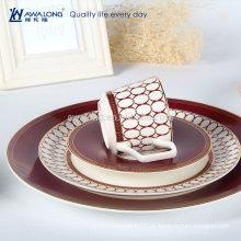 Alta Qualidade Design Elegante Porcelana Vintage Osso China Louça Ocidental Set Dinner Plates