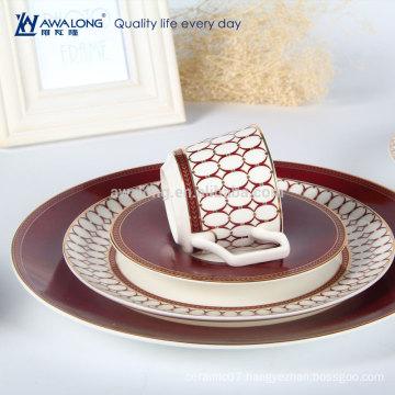 Awalong 4 pcs bone china dinner set with royal design ceramic tableware set