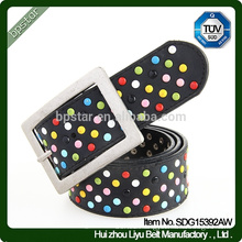 New Fashion Girls Wide Black Studded Inlaid Beaded Real Leather Belt For Party Dress