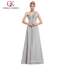 Grace Karin Chiffon- Fußboden-Länge ein Schulterblumenbügel Lange große Größenfrauenkleid-Abendkleid CL3402-3 #