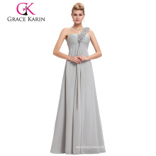 Grace Karin Chiffon Floor Length One Shoulder floral strap Long big size women dress evening dress CL3402-3#