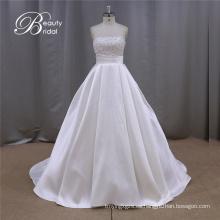 Boda vestido de Novia de la blanco del punto de polca
