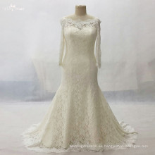 LZ161Dress Long Sleeve Champagne Vestido de Encaje Vestido De Noiva