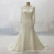 LZ161Dress Long Sleeve Champagne Lace Dress Plus Size Vestido De Noiva