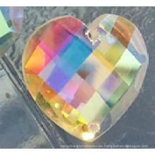 Ab Color corazón plano espalda piedras botones con dos agujeros