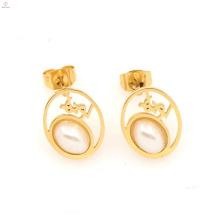 Belle nouvelle boucle d'oreille en or léger en acier inoxydable design