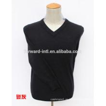 Jersey de cachemira de color sólido básico en cuello V
