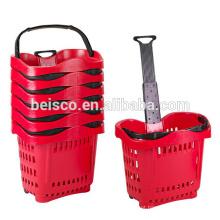 Supermercado de rolamento carrinho cesta com alça telescópica