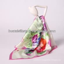 """34 """"x34"""" vente en gros fleur rose impression numérique mode soie foulard soie"""