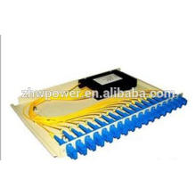 Divisor de fibra óptica del material plástico del tipo del casete, divisor óptico del pigtail de la fibra del sc fc, apc upc 1 * divisor óptico de la fibra de N