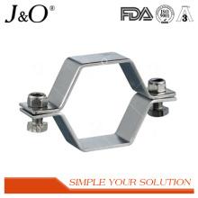 Support de tuyau hexagonal sanitaire en acier inoxydable sans base