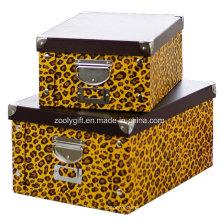 Impressão zebra / leopardo Home / Papelaria de escritório Caixa de papel de armazenamento de encaixe dobrável