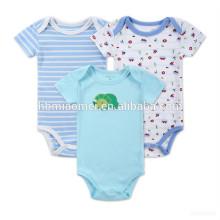 Puro color azul claro estampado de dibujos animados stripe plain100% algodón orgánico suave bebé mameluco en blanco