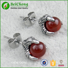 Eagle Claw Red Agate Titanium Steel Stud Earrings