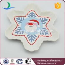 Snowflake Shape Christmas Ceramic Plate