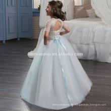 Großhandels gesticktes Blumen-Mädchen-langes Tulle-geschwollenes Kleid