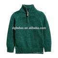 Nouveau design enfants vêtements vert kid pull pull col haut garçon