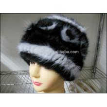Mode Dame Black Nerz Pelz Caps