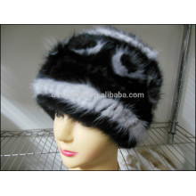 Fashion Lady Black Mink Fur Caps