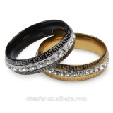 Single Row Rhinestone Ring Gold Plated and silver Plated Stainless Steel for Women Wedding Band Classic Rings Size 7 8 9 10
