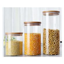 Оптовая Боросиликатного стеклянный сосуд контейнер еды с крышкой