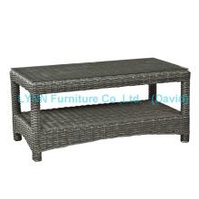 Pequena mesa de café PE Rattan para sofá de jardim