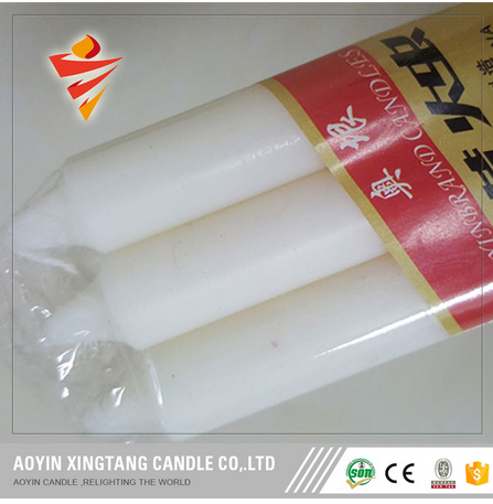 cellophone white candles