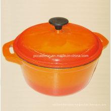 Yellow Round Enamel Cast Iron Casserole China Supplier Dia 26cm