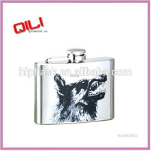 4oz Stainless steel leather cover whiskey flask