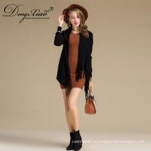 El chal flojo ocasional del invierno del chal negro hizo punto el poncho al por mayor de las lanas