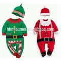 Deux couleurs nouveau-né vêtements de Noël épais coton bébé hiver barboteuse