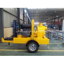 Ensemble de pompe à eau diesel à amorçage automatique monté sur remorque